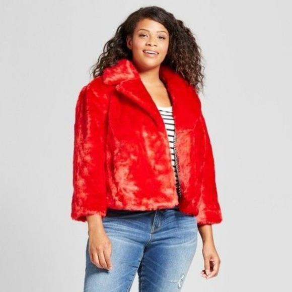 9687c4c8001d7 Ava   Viv Jackets   Blazers - Ava   Viv Red Faux Fur Coat